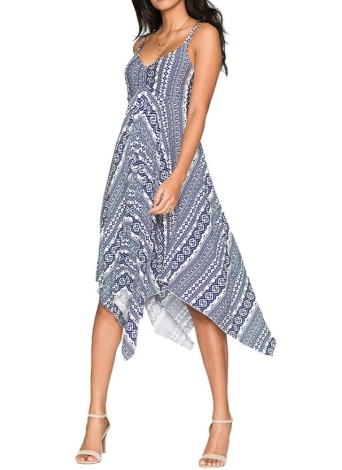 Print Asymmetrical Hem V Neck High Waist Sleeveless A-Line Stretchy Midi Dress