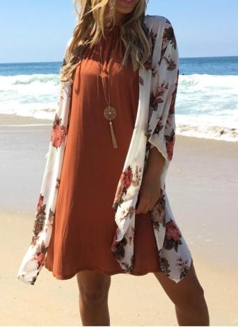 Donne Beach Kimono chiffon stampa floreale anteriore aperto Oversize lungo Boho copertura casual sulla Cardigan Bianco