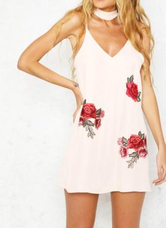 Sexy Floral Embroidery Plunge V Neck Choker Women's Mini Slip Dress