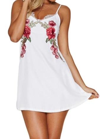 Nouveau Femmes Sexy Mini-robe florale broderie dentelle V-Neck Strap Backless Party Nightclub A-Line Robe Noir / Blanc