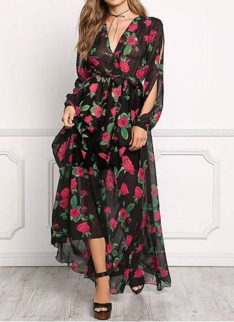 Sheer Chiffon Floral Cross V Neck Cut Out Sleeve Elastic Waist Women's Maxi Dress
