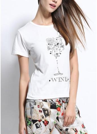Neue Sommer-Frauen-T-Shirt Blumen Brief Druck O-Ansatz Kurzschluss-Hülsen-beiläufige T Tops Weiß