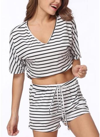 Mulheres Conjunto de duas peças Stripe Jumpsuit Romper Strap Arco Cintura Tie Overalls Summer Beach Playsuit Branco