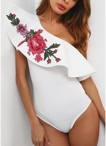 El bordado floral atractivo de los monos del bordado de la colmena un hombro de las mujeres del hombro