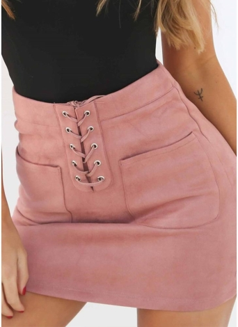 Sexy Women Suede Mini Lace-up Pencil Casual High Waist Slim Solid  Skirt
