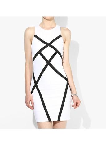 Sexy Contrast Splicing Geometric Sleeveless Bodycon Bandage Women's Dress