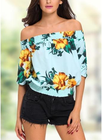 Maglietta floreale di modo fuori dalle maniche mezze della spalla Camicetta delle donne