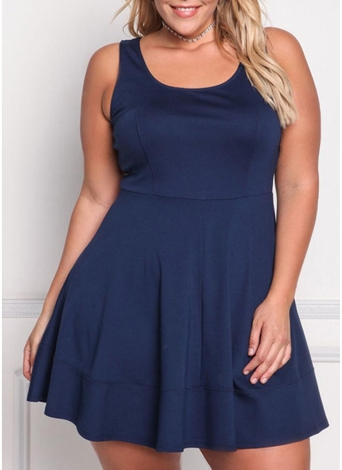 Fashion Summer Sleeveless Solid  Casual  Women's Plus Size Dress