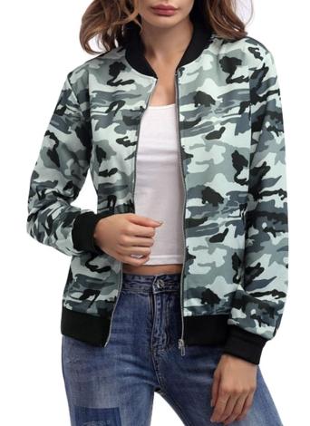 Art und Weise Camouflage-Reißverschluss-Baseball-Mantel-beiläufige Frauen-Jacke