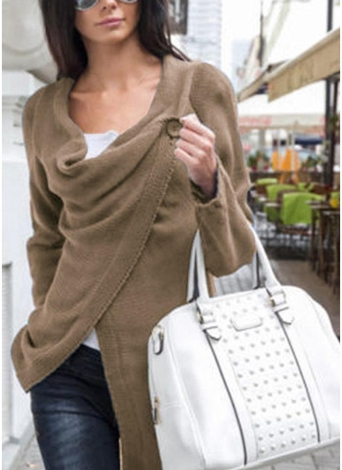 Knitwear Solid Color Asymmetric Long Roll Up Sleeve Women's Sweatershit
