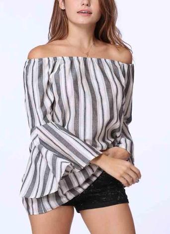Frauen Sexy Schulterfrei Streifen Elastische Slash Neck Ausgestellte Ärmel Bluse
