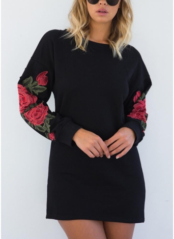 Sexy Women Floral Embroidery O-Neck Mini Dress