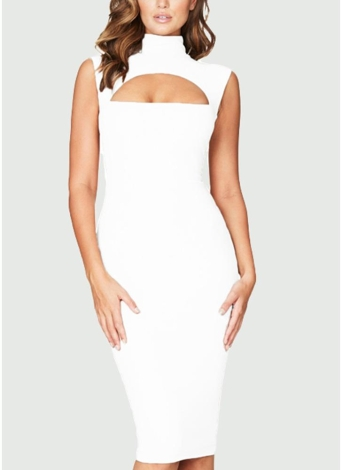 Sexy Solid Cut Out Front High Cowl Neck Bandage Feminino Bodycon Dress