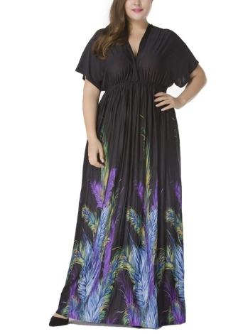 Vestido maxi feminino com moldura de pescoço com tamanho feminino