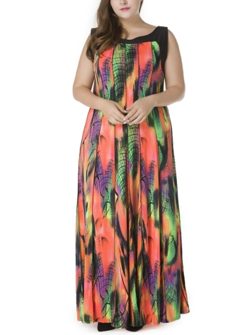 Women Plus Size Bohemian Sleeveless Plissado Maxi Dress