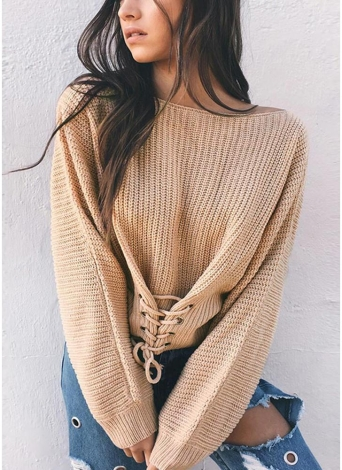 Sexy Off Shoulder Sweater Slash Neck Lace-Up Bandage Pullover pour femme