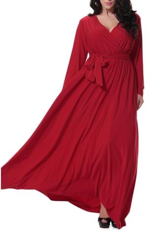 Vestito da cerimonia nuziale sexy della vita del Cocktail delle donne lunghe del manicotto lungo del collo di V del collo