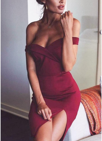 Women Off The Shoulder Sexy Elegant Party Clubwear Mini Dress