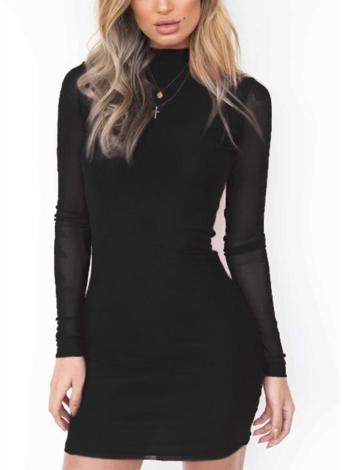 Мини-платье для сексуальных женщин Sheer Bodycon