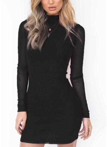 Sexy Femmes Sheer Moulante Mini Dress