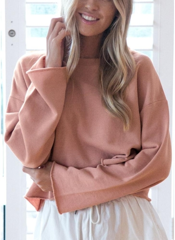 Mulheres Sólidos O-Neck Hoodies Tracksuit Sweatshirt