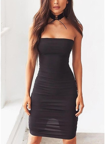 Sexy Off Shoulder Sleeveless Slash Neck Strapless Party Mini Bodycon Dress