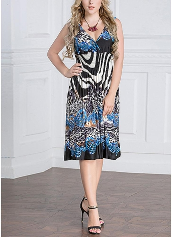 Women Geometric Print Deep V-Neck Sleeveless High Waist Midi Dress