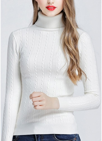 Fashion Women Twisted Turtleneck Long Sleeve Knitted Sweater
