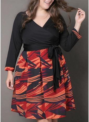 Sexy Women Plus Size Dress Plunge V Neck Print Elegant Knee-Length Dress