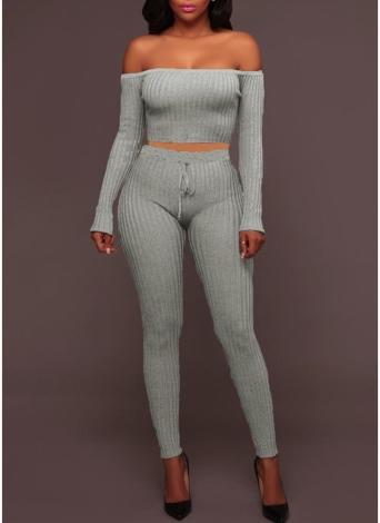 Sexy de hombro sólida Ribbed alta cintura desgaste Club de dos piezas