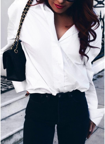 Women Lace Up Shirt Long Sleeves Off the Shoulder Button Down Front Turn-down Collar Loose Casual Blouse Tops