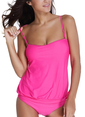 Le nuove donne Tankini Set bikini a fascia costume da bagno spalline staccabili imbottite Nuoto Estate Suit