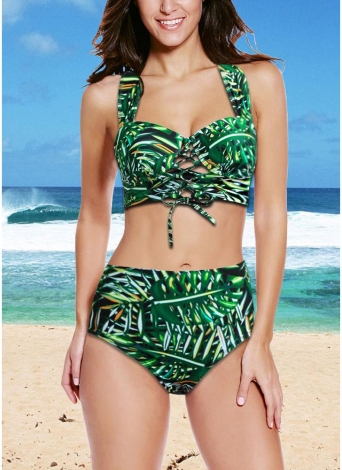 Bikini sexy Donne Set Swimwear Swimsuit Lace Up Leaf Stampa Push Up con ferretto imbottito due pezzi costume da bagno Beachwear