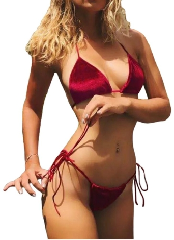 Velvet donne sexy bikini con laccetti Halter Bandage Thong Solid spiaggia dello Swimwear del costume da bagno del vestito blu / rosso / arancio