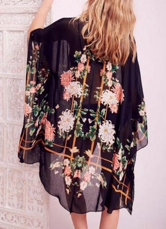 Ladies Black Floral Kimono Plus Size 16//18 18//20 Tassel Fringe Summer Kaftan m60