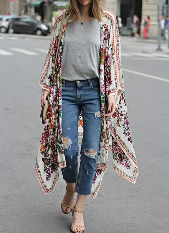 Neue Frauen Chiffon Kimono Cardigan Blumendruck Asymmetric Boho lose Oberbekleidung Bademode Bikini-Vertuschung-Weiß