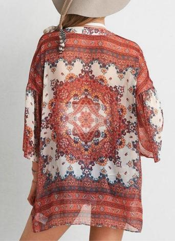 Mode féminine Plage Cover Up en mousseline de soie Kimono imprimé floral avant Ouvrez lâche Cardigan orange