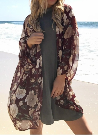 Kimono in chiffon con maniche lunghe da donna