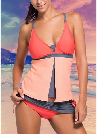Sexy Frauen-Badeanzug-Bikini-gesetzte Badebekleidung Kontrast-Farben-Spaghetti-Bügel-Padded zwei Stück Badeanzug Bademode