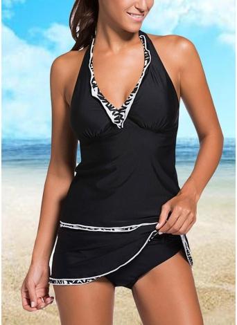 Sexy Frauen-Badeanzug Tankini mit V-Ausschnitt Halter-Backless Skort Bottom Ruched Strand-Badebekleidung Zweiteilige Badeanzug Black1 / Black2 / Blau