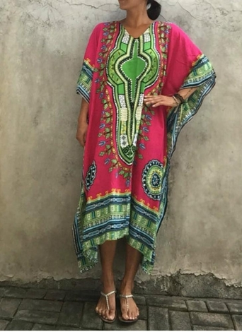 Boho Ethnic Beach Cover Up Plus Size Printed V Neck Women's Maxi Dress