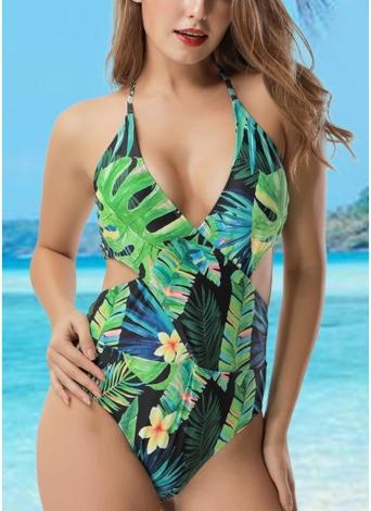Frauen-Blätter-Druck-einteiliger Badeanzug
