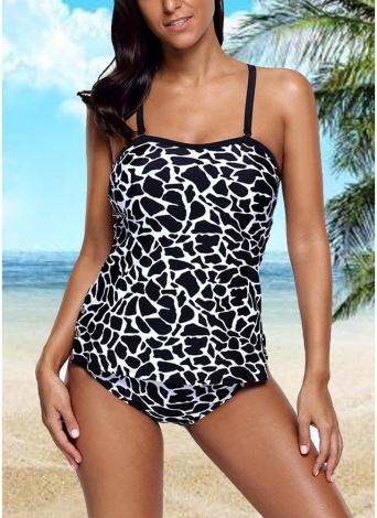 Sexy Frauen Zweiteilige Badeanzug Tankini Set Animal Print Gepolsterte Top Bottom Bademode Badeanzug