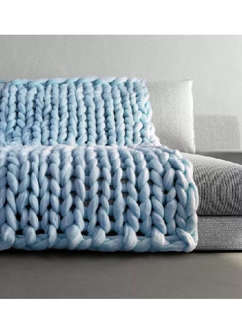 Chunky Knitted Handmade Thick Blanket Hand Yarn Bulky Knit Throw Sofa Blanket for Bedroom Living Room 1.6kg 100*120cm