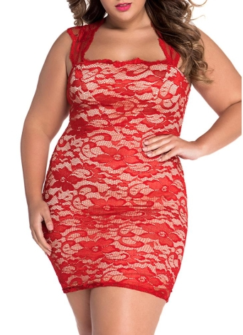 Red Lace Nude Illusion Kleid