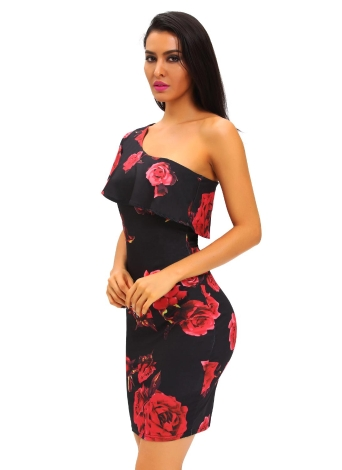 Red Rose Print Frill One Shoulder Midi Dress