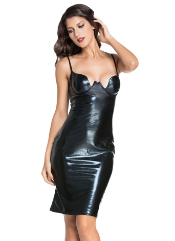 Faux Leather Padded Midi Bodycon Dress