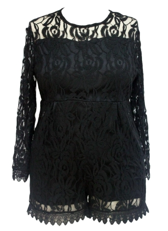 Plus Size Long Sleeve Lace Romper