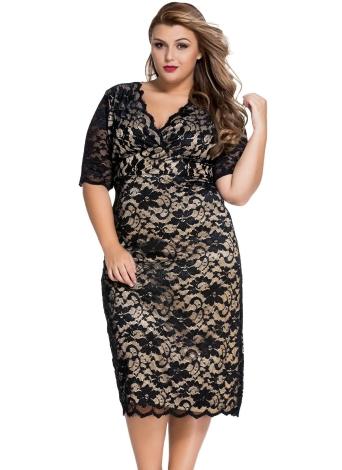 df53f8d79b3 Plus Size V-Neck Half Sleeve Lace Midi Dress