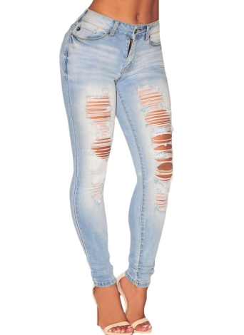 Sexy Boyfriend Style Light Denim Cut Off Ripped Skinny Jeans